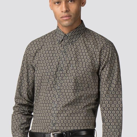 Ben Sherman Long Sleeve Distressed Wallpaper Shirt